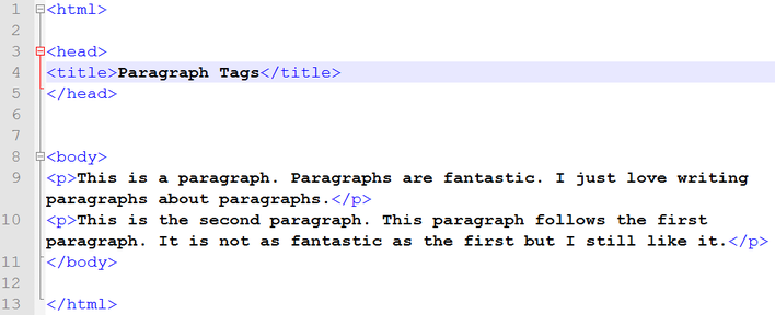 how to use paragraph tag in html