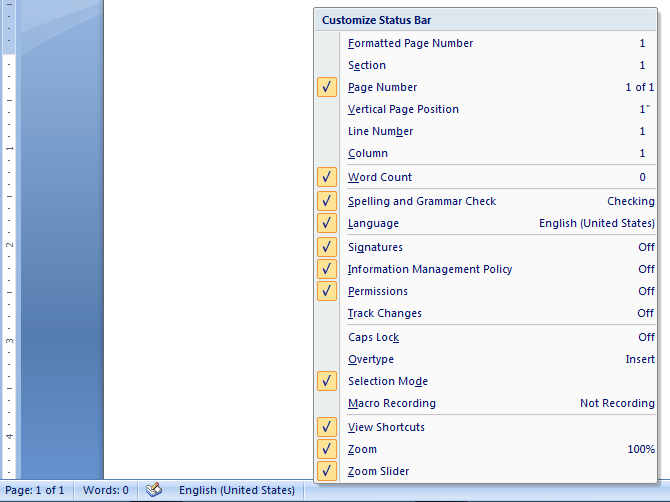 status bar in microsoft word 2007